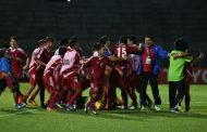 Nepal celebrate their victory over Laos in the semifinals of AFC Solidarity