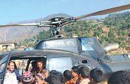 भुकम्प पिडिटको पैसाबटा हेलिकक्प्टरमा रजाई